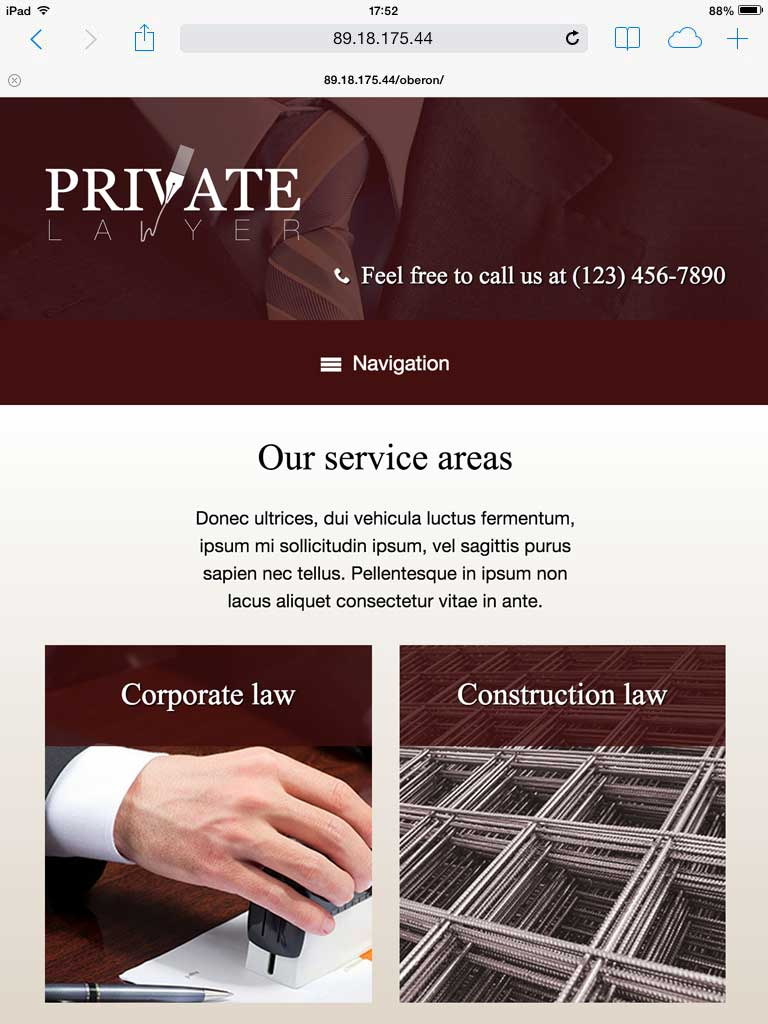 tablet screenshot Private Lawyer WordPress Theme