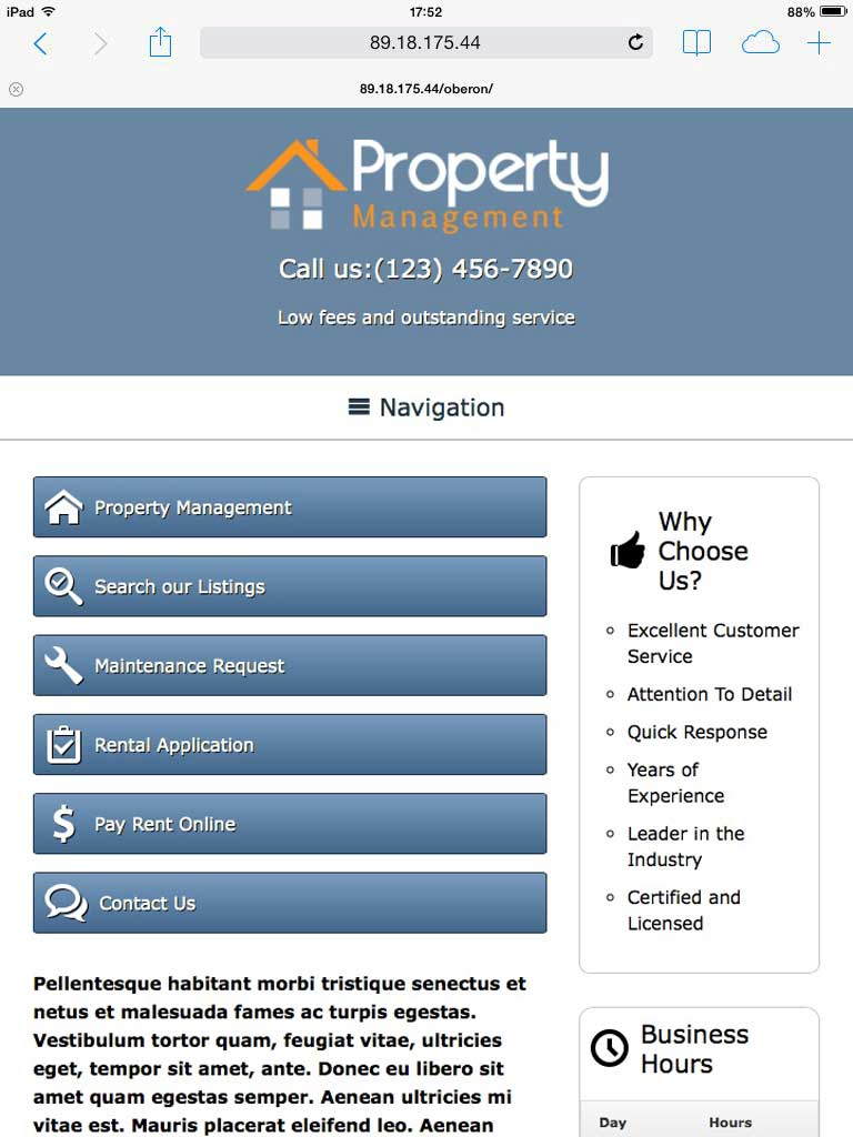 tablet screenshot Property Management WordPress Theme