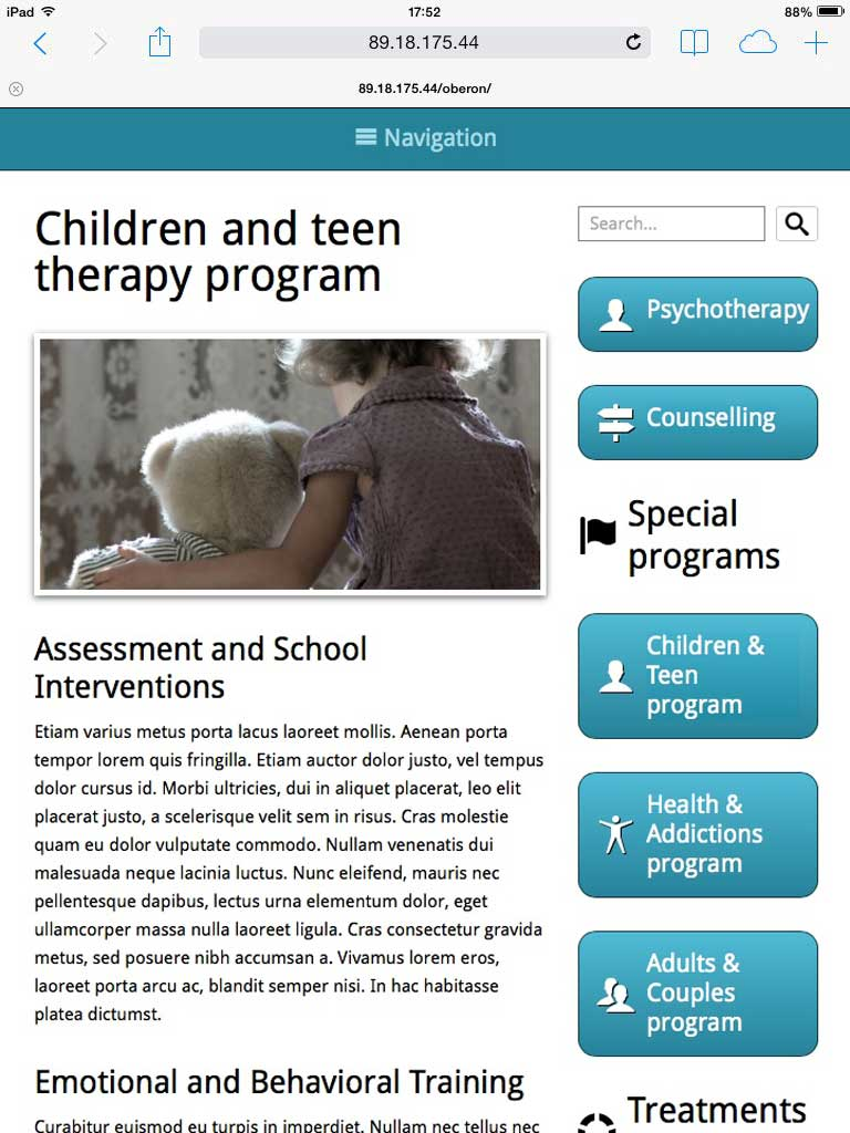 tablet screenshot Psychologist WordPress Theme