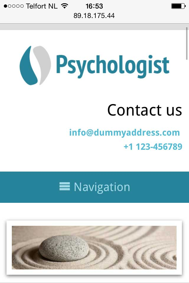 mobile phone screenshot Psychologist WordPress Theme