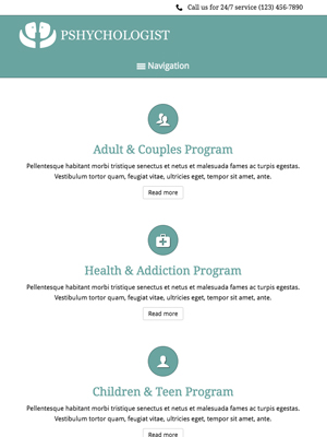 tablet screenshot Mental Health WordPress Theme