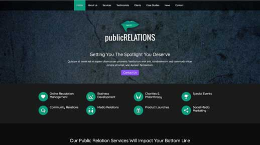 desktop screenshot Public Relations WordPress Theme