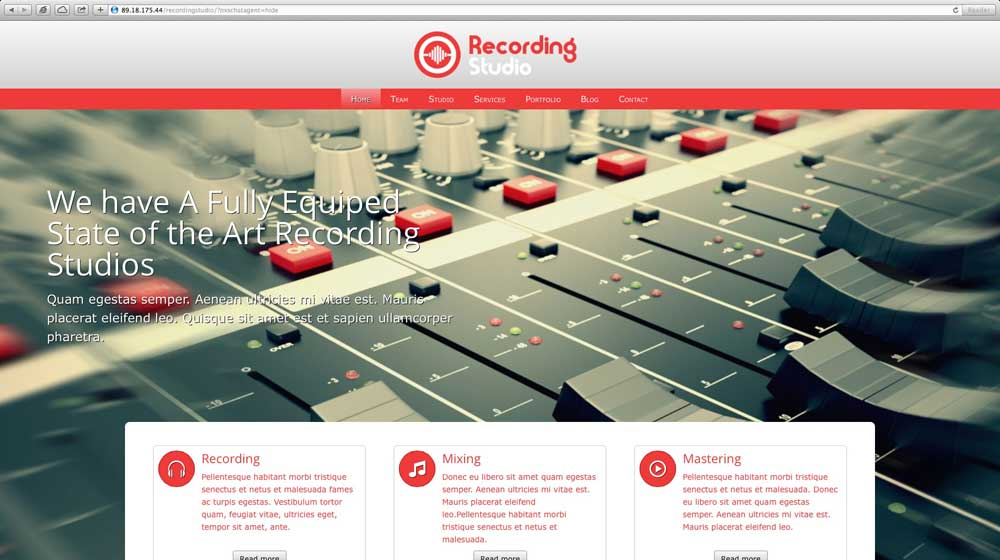 desktop screenshot Recording Studio WordPress Theme