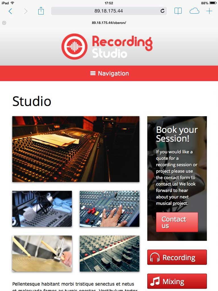 tablet screenshot Recording Studio WordPress Theme