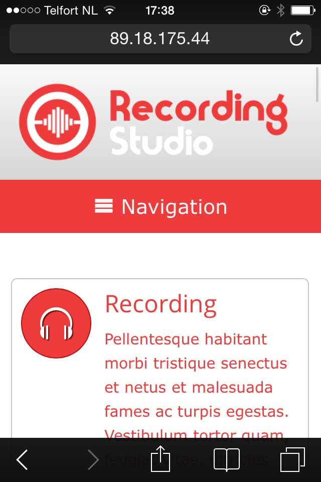 mobile phone screenshot Recording Studio WordPress Theme