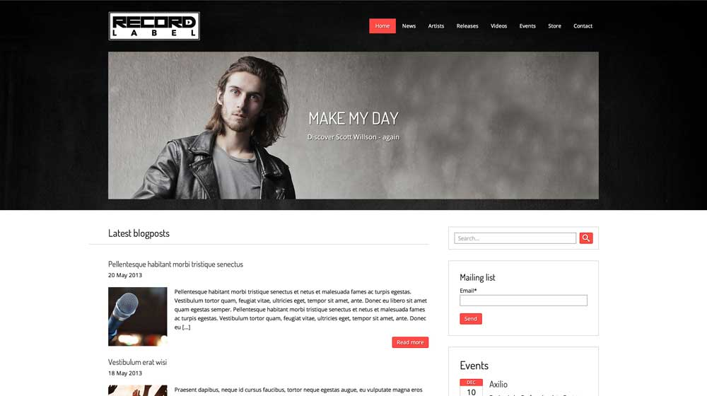 desktop screenshot Record Label WordPress Theme