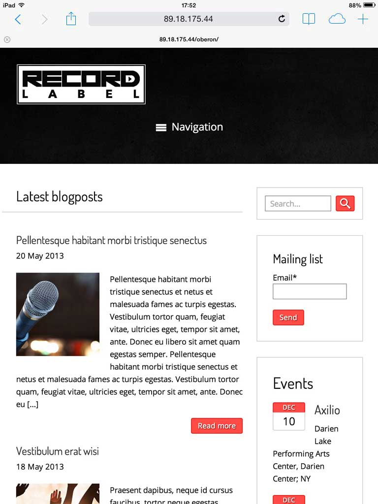 tablet screenshot Record Label WordPress Theme
