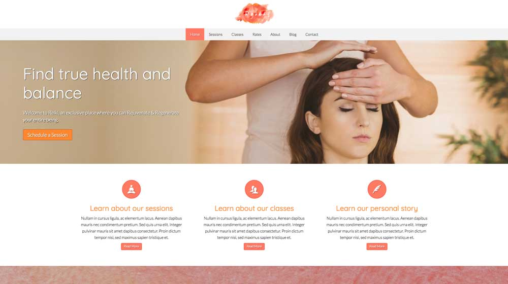 desktop screenshot Reiki WordPress Theme
