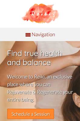 mobile phone screenshot Reiki WordPress Theme