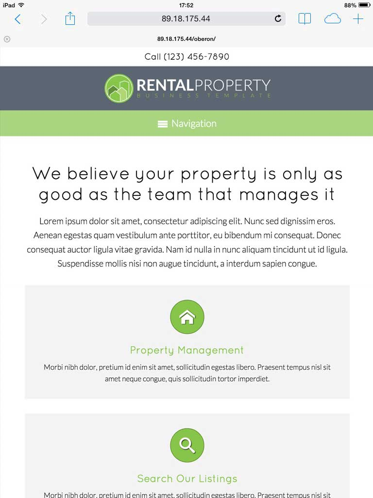 tablet screenshot Property Rental WordPress Theme