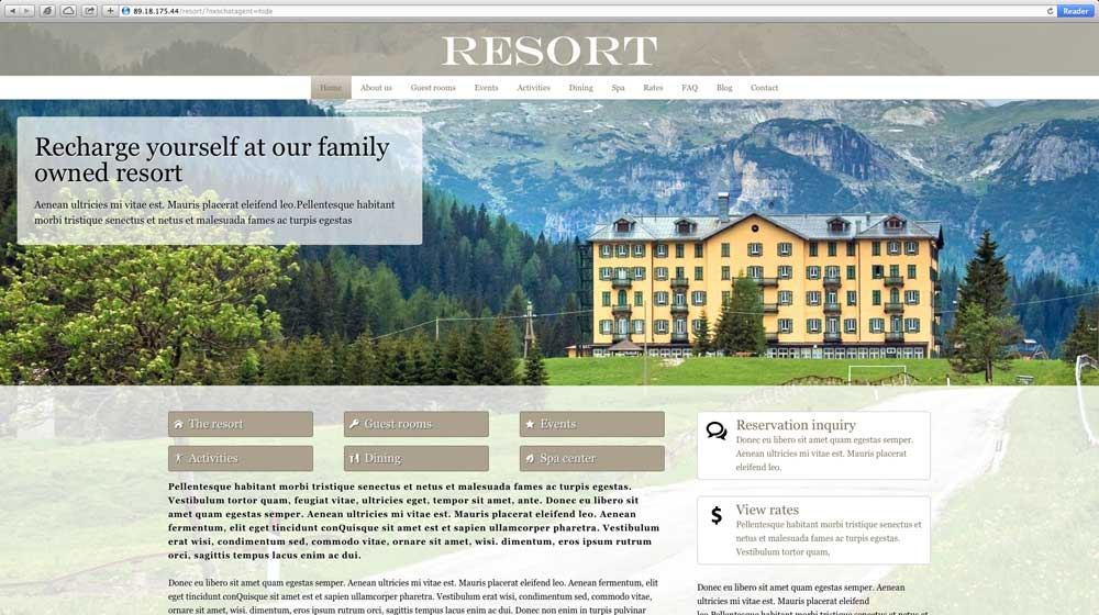 desktop screenshot Resort WordPress Theme