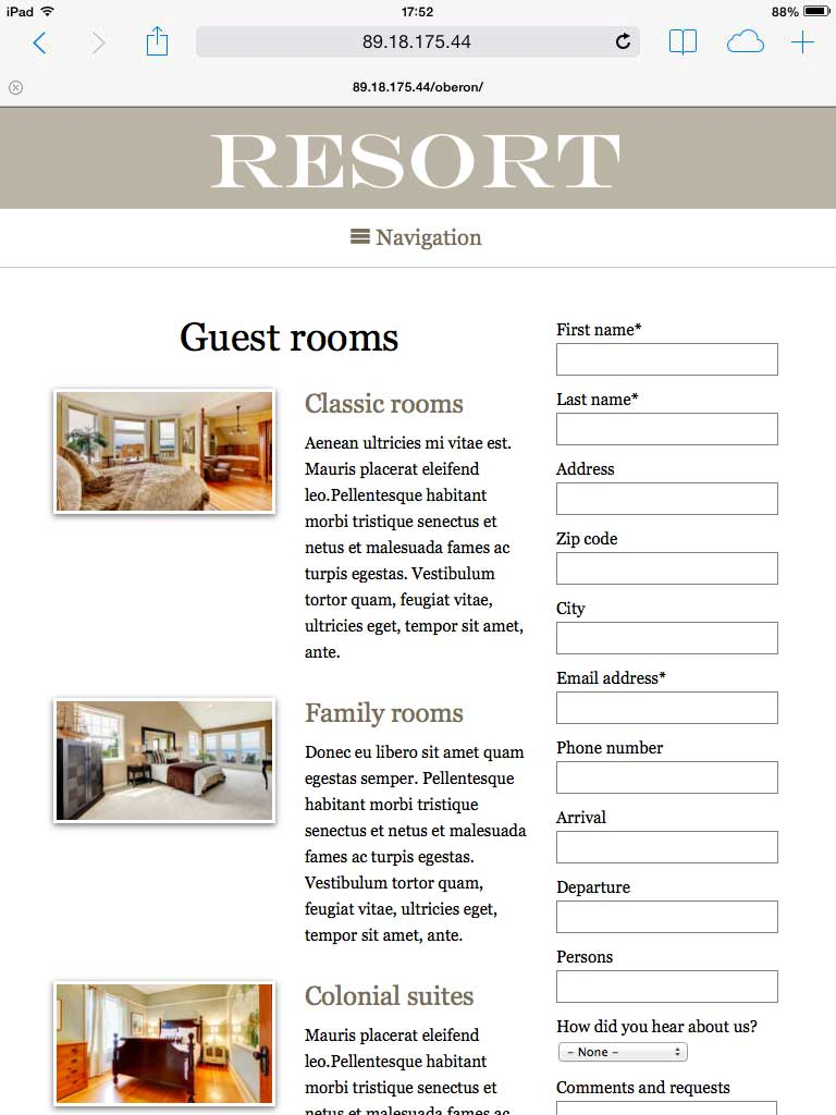 tablet screenshot Resort WordPress Theme