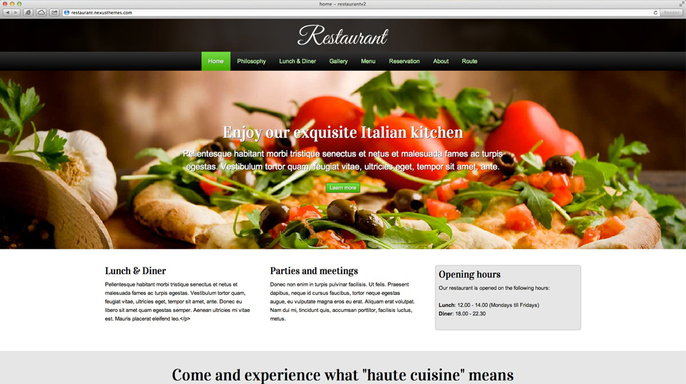 desktop screenshot Restaurant WordPress Theme