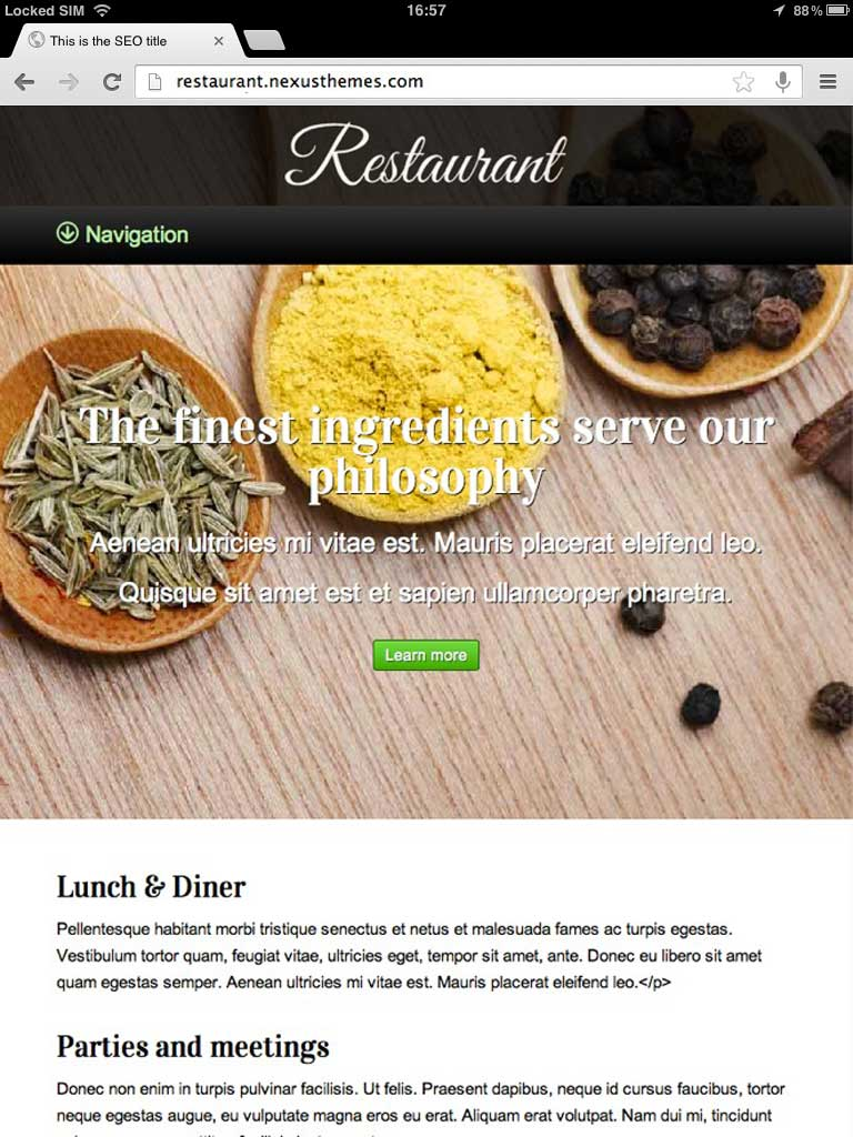 tablet screenshot Restaurant WordPress Theme