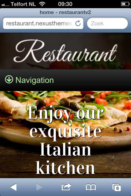 mobile phone screenshot Restaurant WordPress Theme