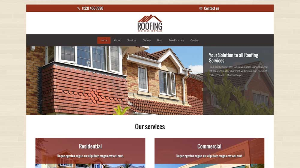 desktop screenshot Roofing WordPress Theme