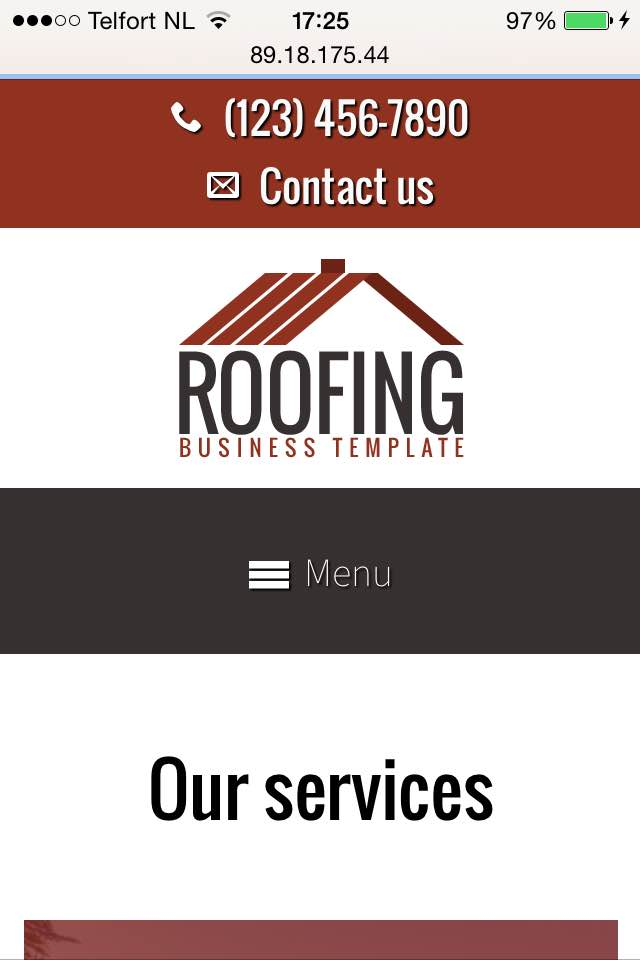 mobile phone screenshot Roofing WordPress Theme