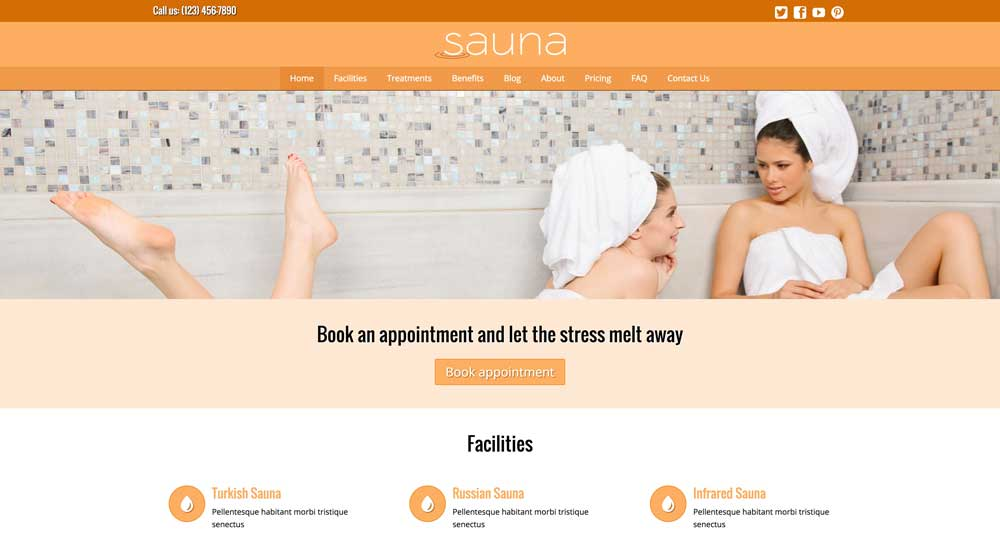 desktop screenshot Sauna WordPress Theme