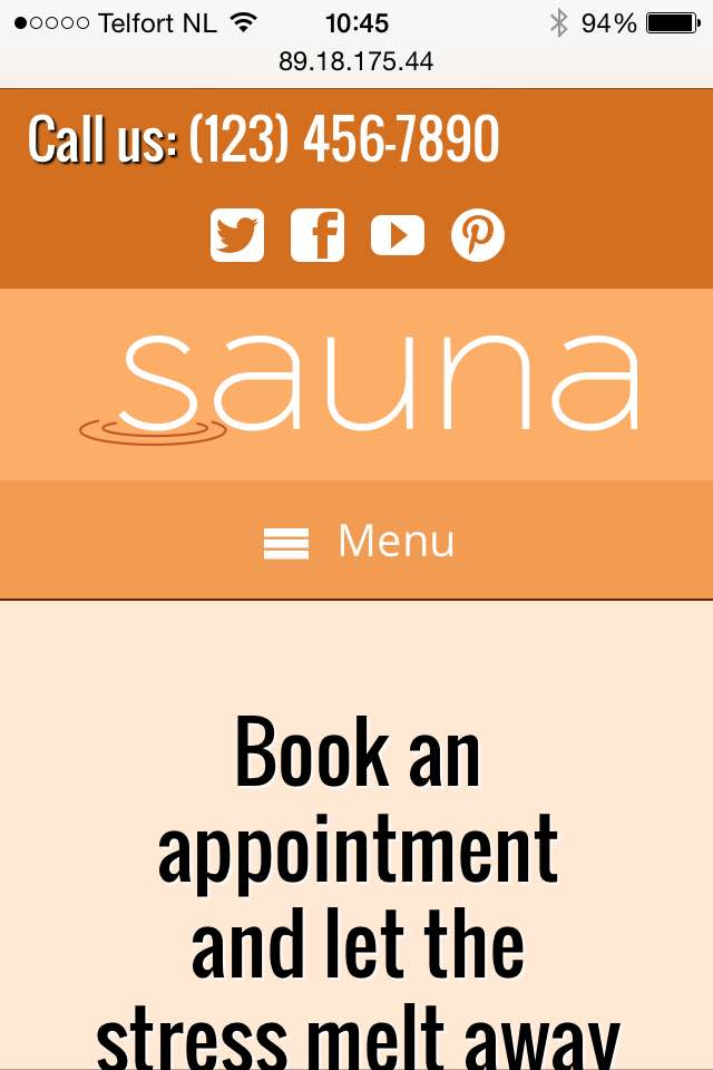 mobile phone screenshot Sauna WordPress Theme