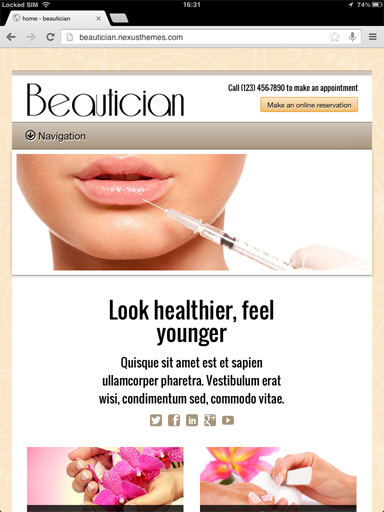 tablet screenshot Beautician WordPress Theme