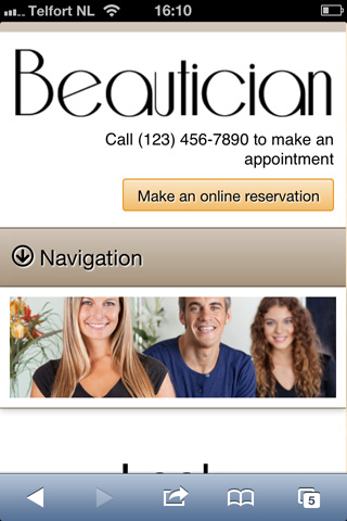 mobile phone screenshot Beautician WordPress Theme