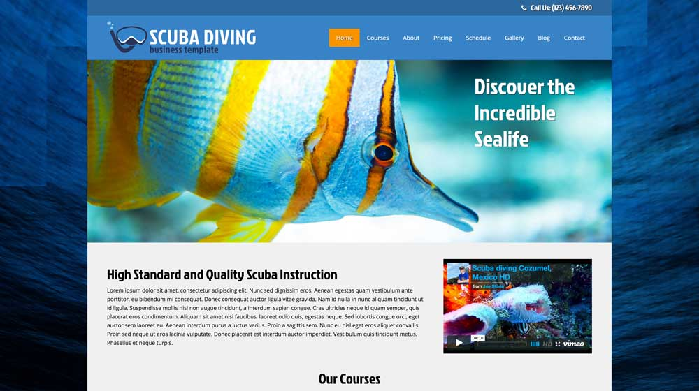 desktop screenshot Scuba Diving WordPress Theme