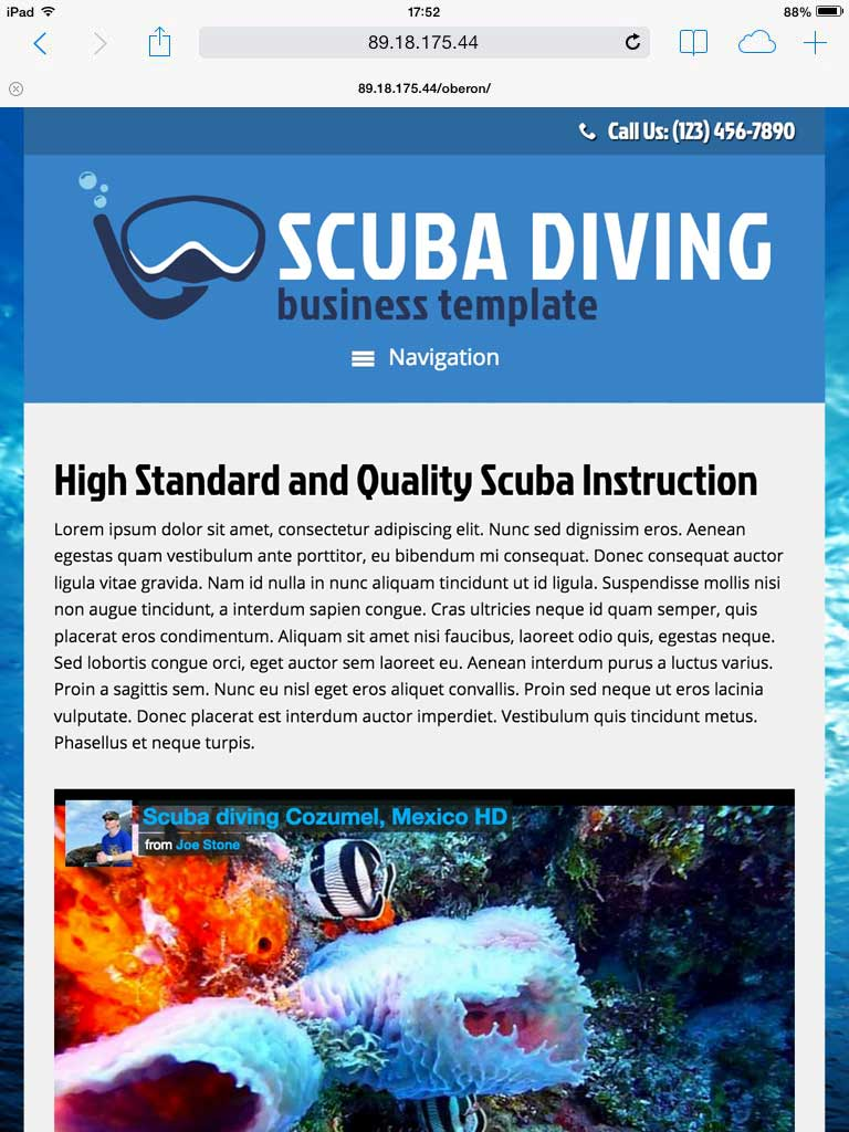 tablet screenshot Scuba Diving WordPress Theme