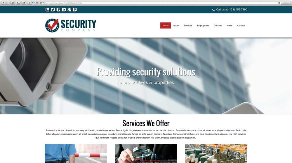 desktop screenshot Security Company WordPress Theme