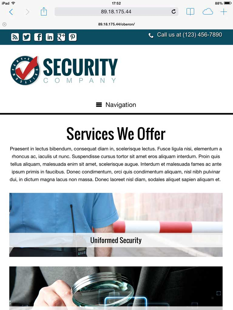 tablet screenshot Security Company WordPress Theme