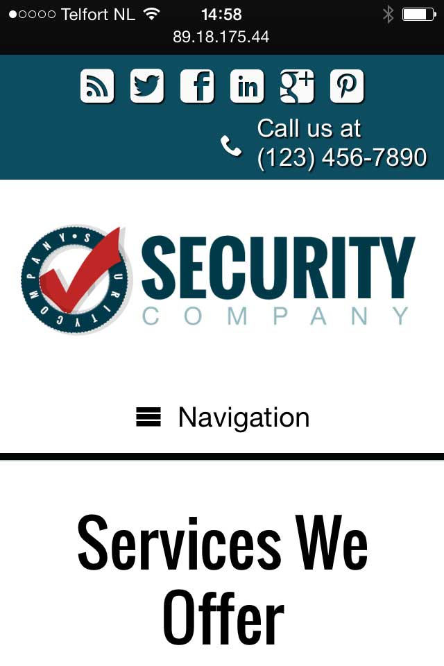 mobile phone screenshot Security Company WordPress Theme