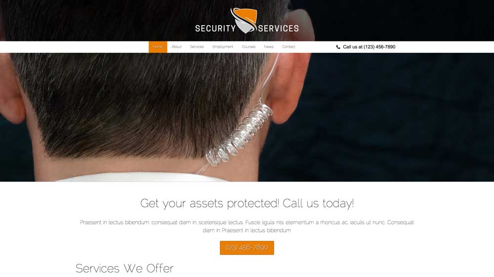 desktop screenshot Security Services WordPress Theme