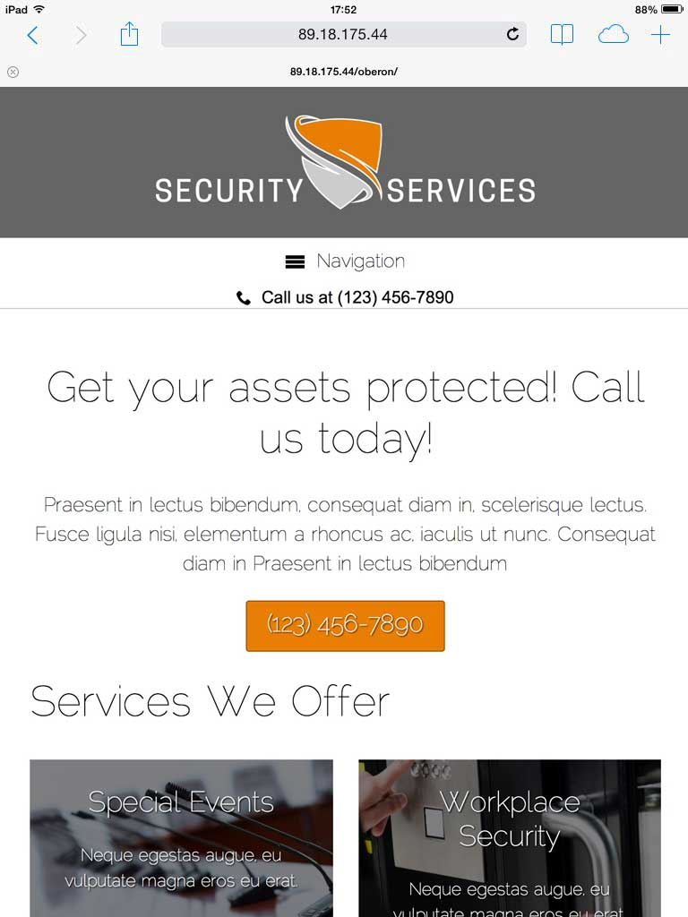 tablet screenshot Security Services WordPress Theme