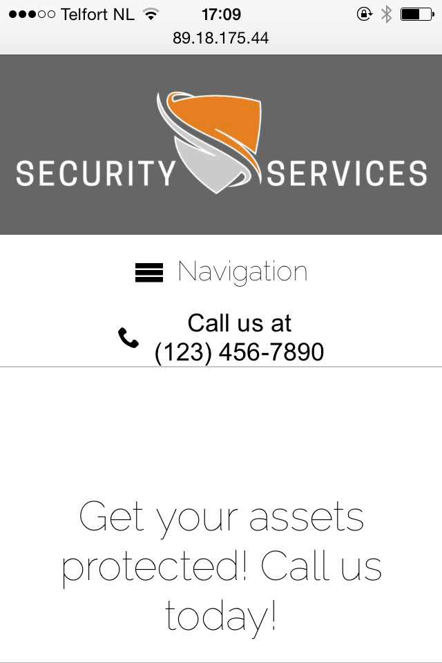 mobile phone screenshot Security Services WordPress Theme
