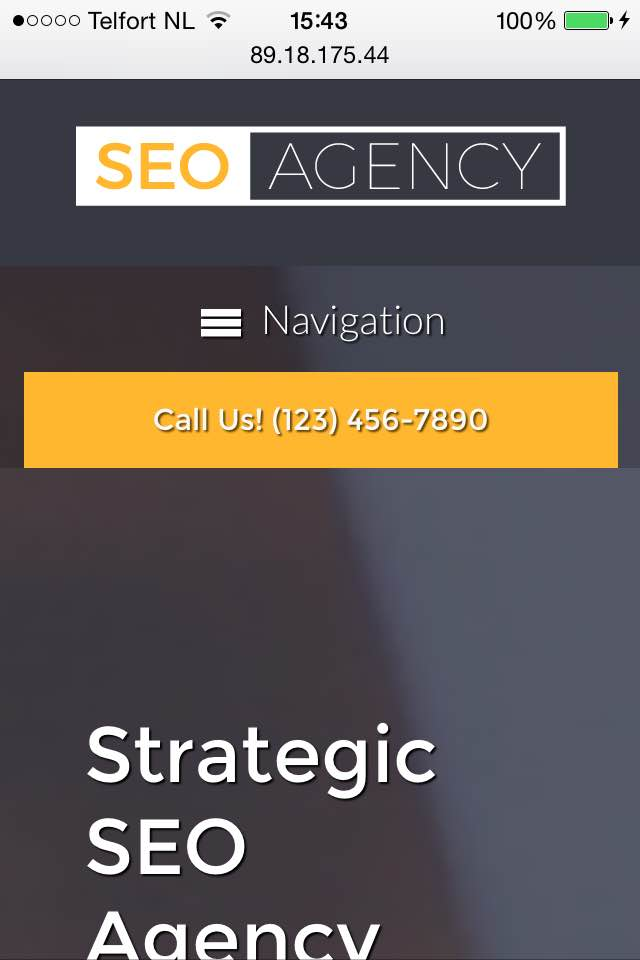 mobile phone screenshot SEO Agency WordPress Theme