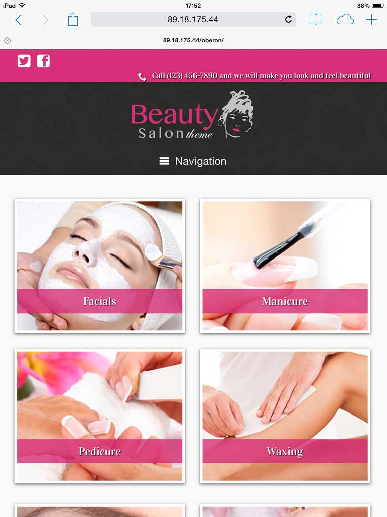 tablet screenshot Beauty Salon WordPress Theme