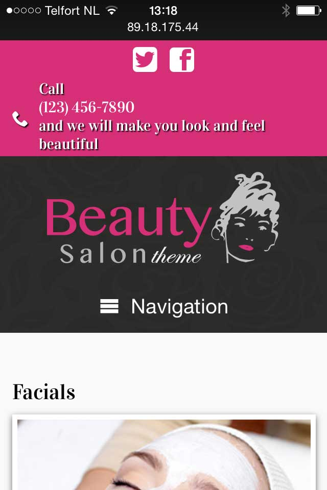 mobile phone screenshot Beauty Salon WordPress Theme