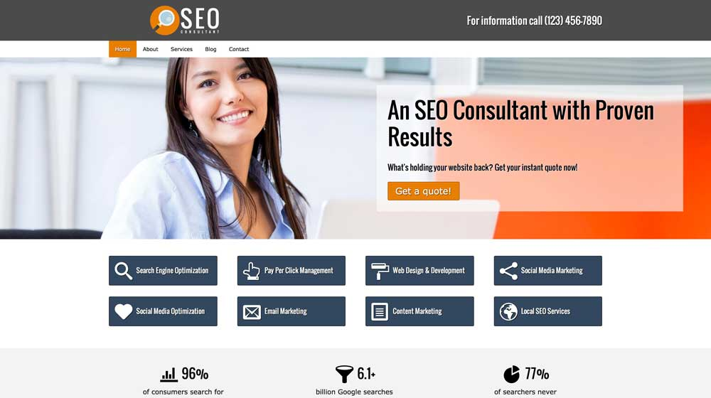 desktop screenshot SEO Consultant WordPress Theme