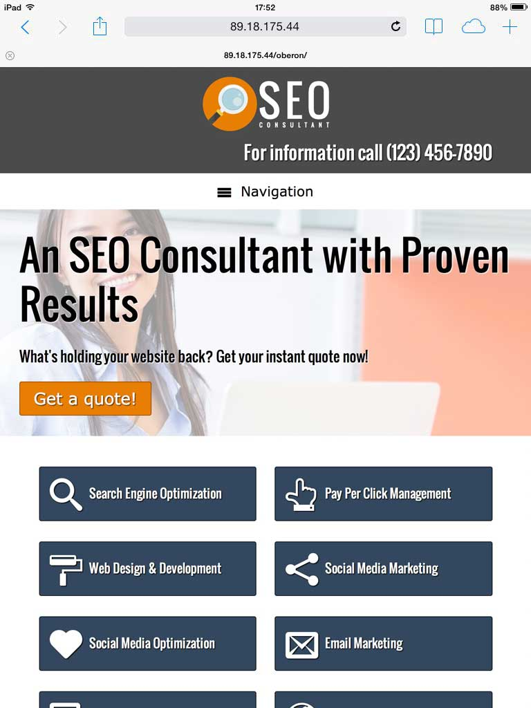 tablet screenshot SEO Consultant WordPress Theme