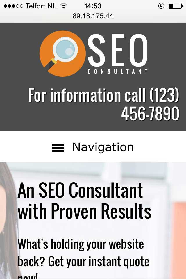 mobile phone screenshot SEO Consultant WordPress Theme