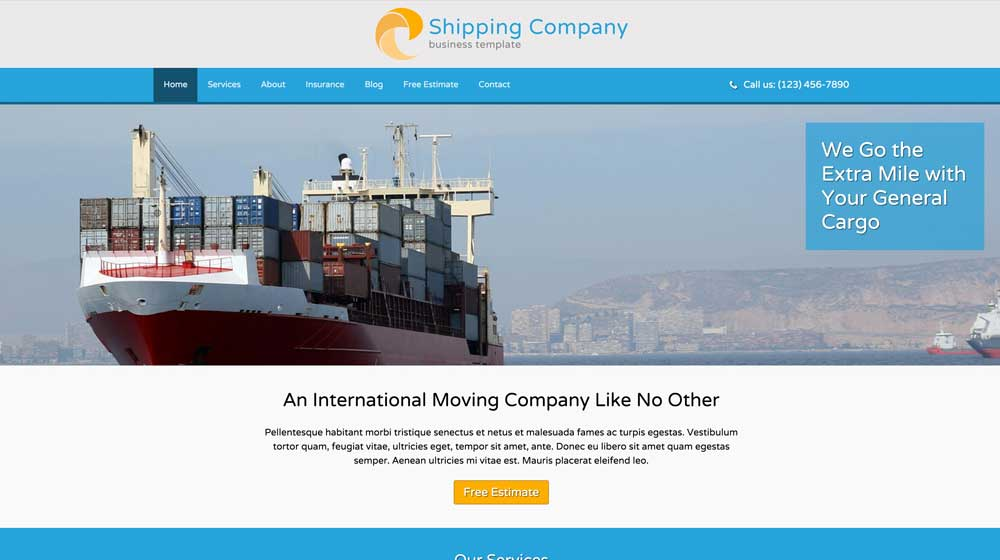 desktop screenshot Shipping Company WordPress Theme