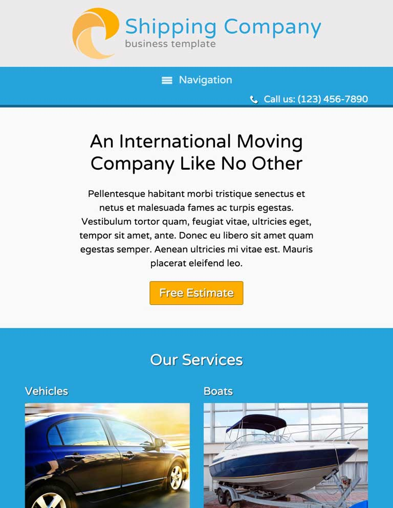 tablet screenshot Shipping Company WordPress Theme