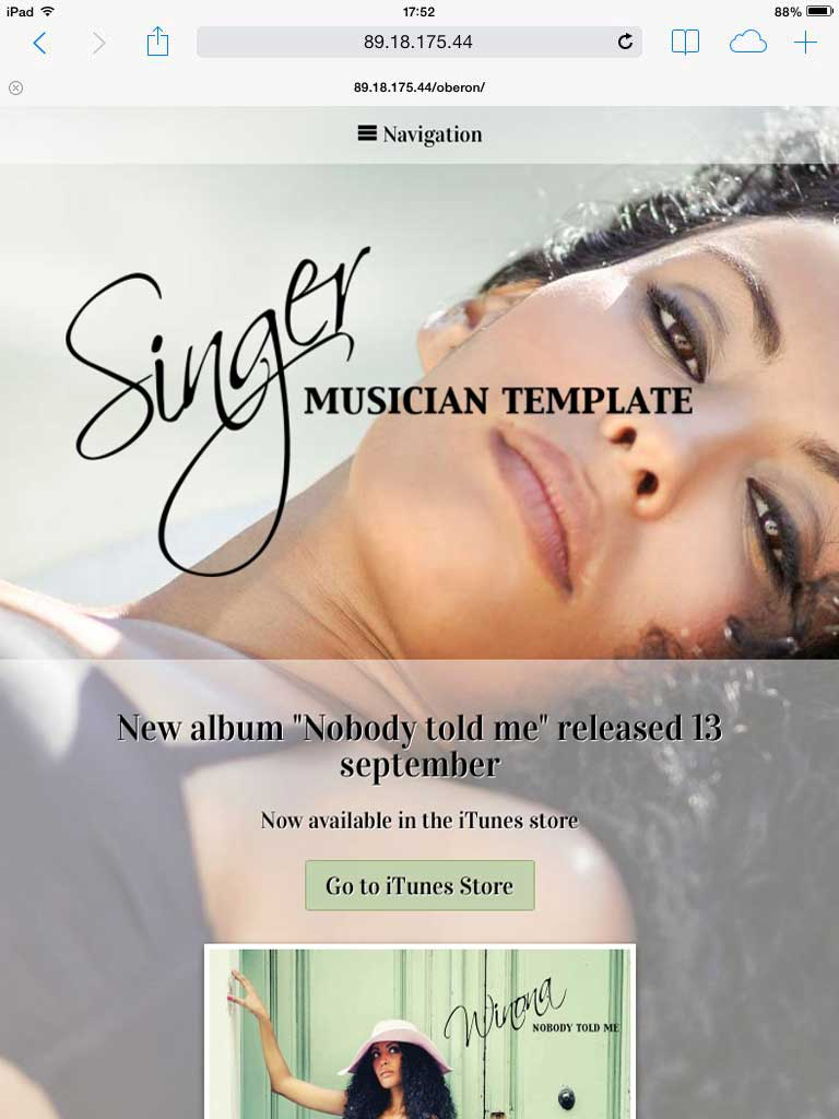 tablet screenshot Singer WordPress Theme
