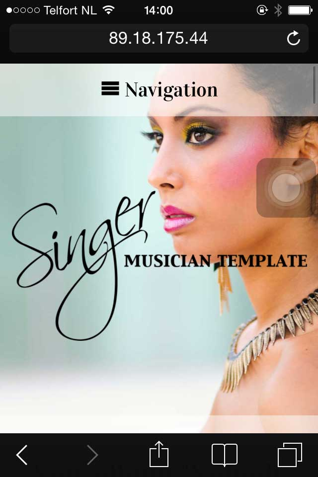 mobile phone screenshot Singer WordPress Theme