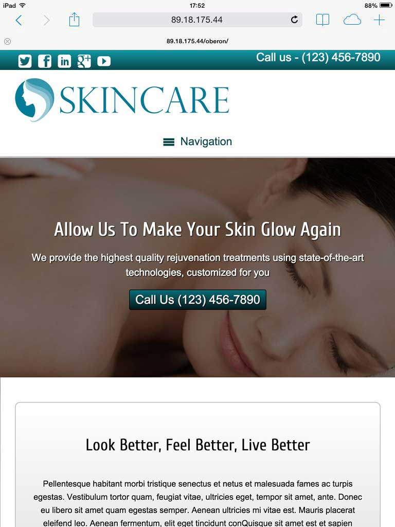 tablet screenshot Skin Care WordPress Theme
