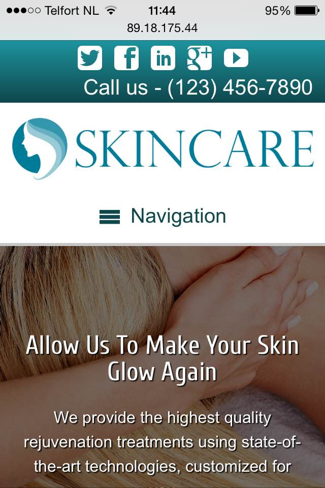 mobile phone screenshot Skin Care WordPress Theme