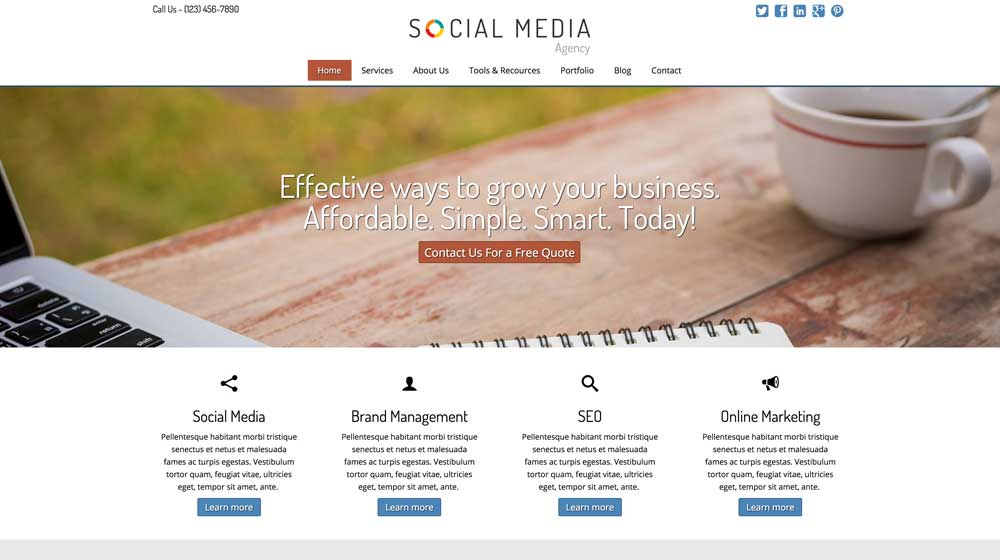 desktop screenshot Social Media Agency WordPress Theme