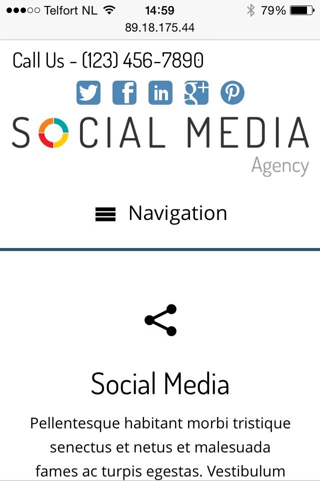 mobile phone screenshot Social Media Agency WordPress Theme