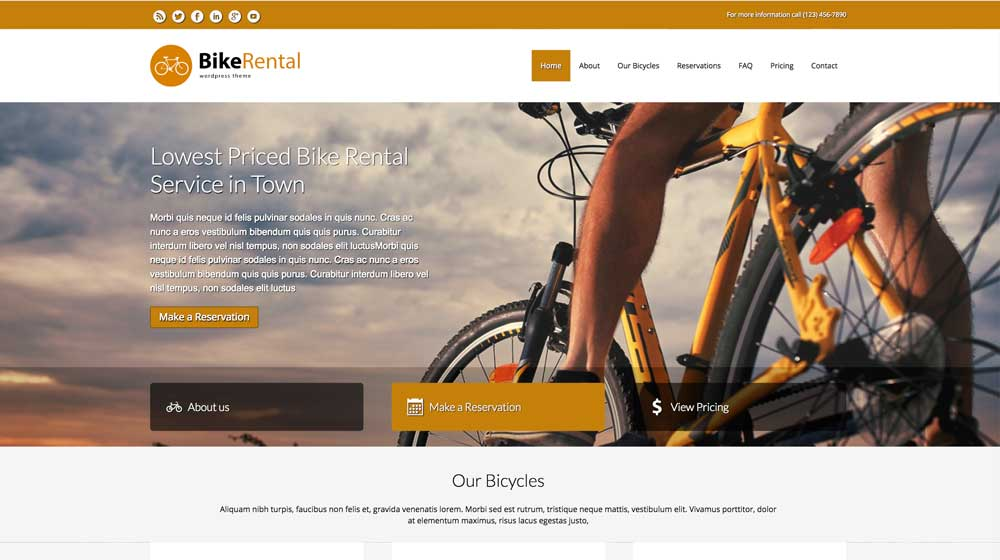 desktop screenshot Bike Rental WordPress Theme