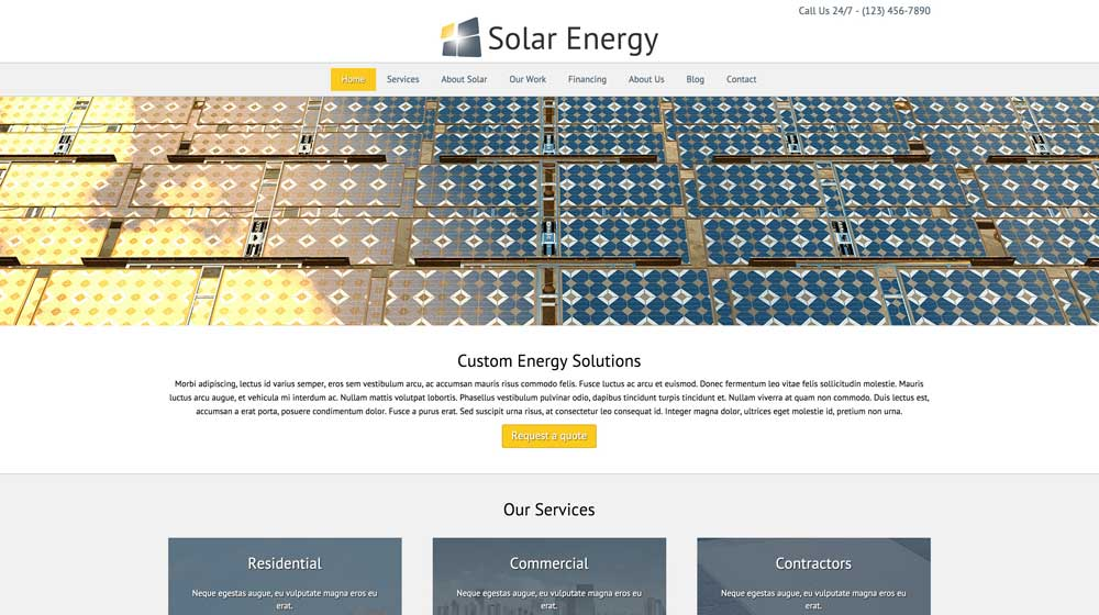 desktop screenshot Solar Energy WordPress Theme