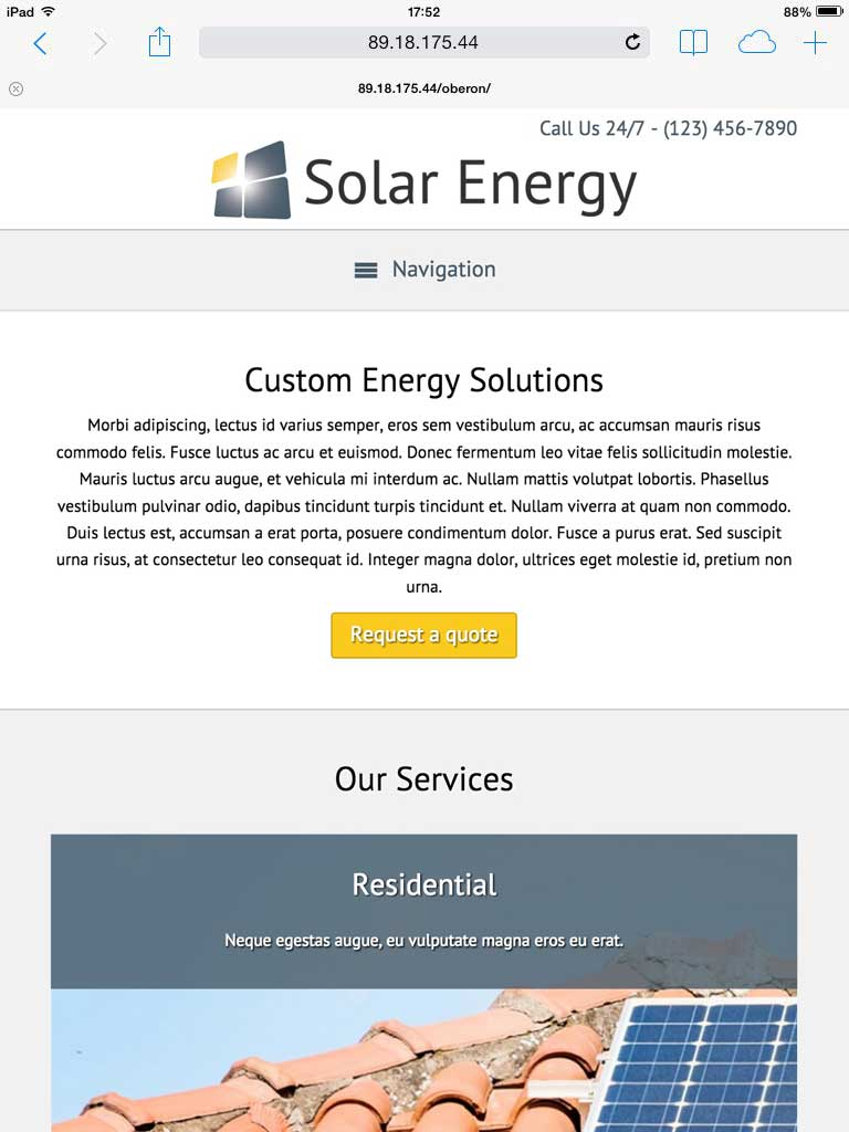 tablet screenshot Solar Energy WordPress Theme